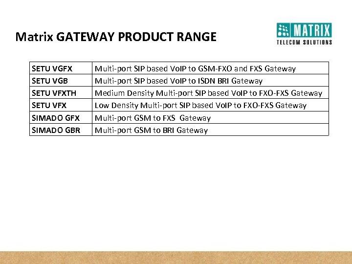 Matrix GATEWAY PRODUCT RANGE SETU VGFX SETU VGB SETU VFXTH SETU VFX SIMADO GBR
