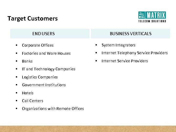 Target Customers END USERS BUSINESS VERTICALS § Corporate Offices § System Integrators § Factories