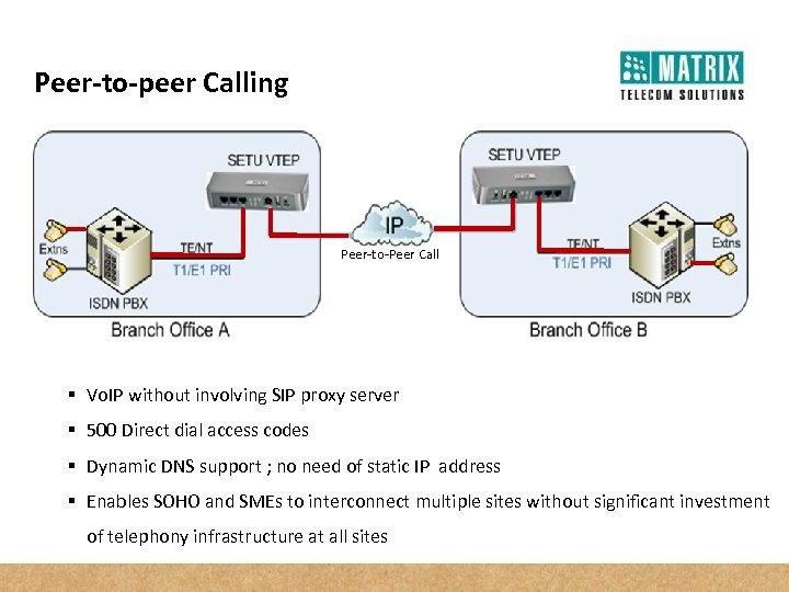 Peer-to-peer Calling Peer-to-Peer Call § Vo. IP without involving SIP proxy server § 500