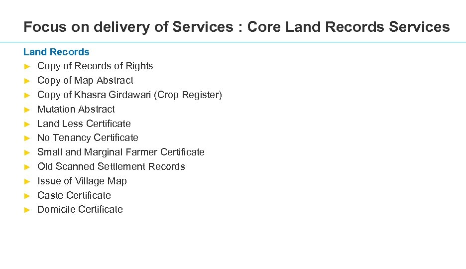 Focus on delivery of Services : Core Land Records Services Land Records ► Copy