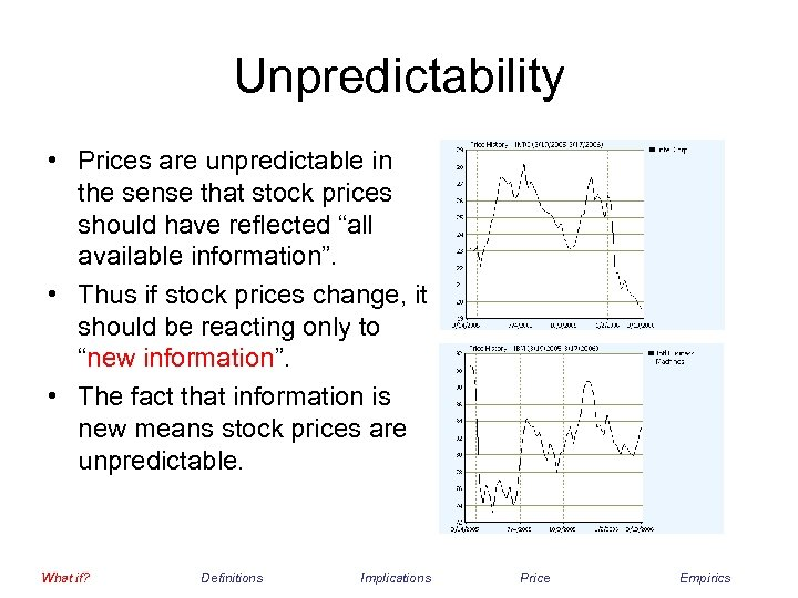 Unpredictability • Prices are unpredictable in the sense that stock prices should have reflected