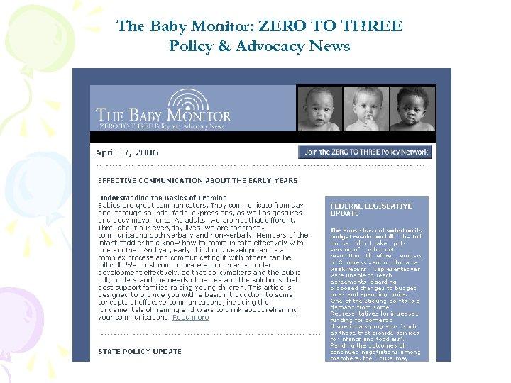 The Baby Monitor: ZERO TO THREE Policy & Advocacy News