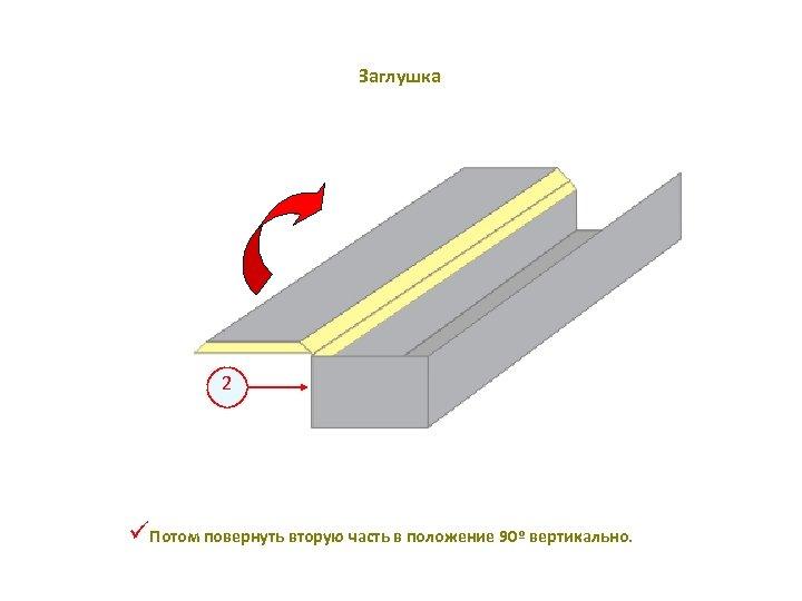 Заглушка 2 üПотом повернуть вторую часть в положение 90º вертикально.