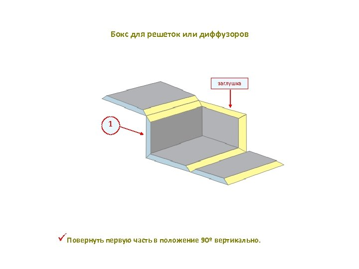 Бокс для решеток или диффузоров заглушка 1 üПовернуть первую часть в положение 90º вертикально.