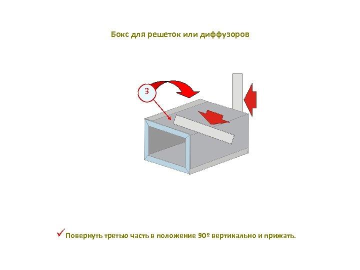 Бокс для решеток или диффузоров 3 üПовернуть третью часть в положение 90º вертикально и