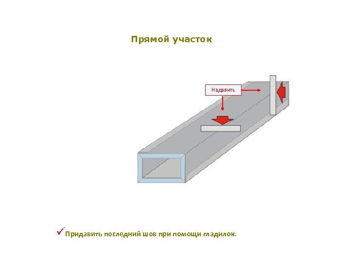 Прямой участок Надавить üПридавить последний шов при помощи гладилок.