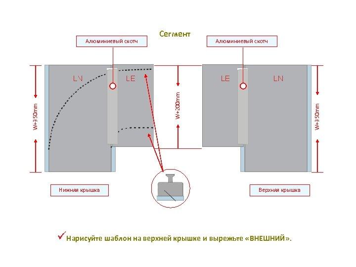 Сегмент Алюминиевый скотч Нижняя крышка W+350 mm W+200 mm Алюминиевый скотч Верхняя крышка üНарисуйте