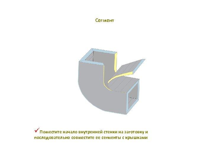 Сегмент üПоместите начало внутренней стенки на заготовку и последовательно совместите ее сегменты с крышками