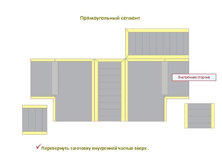 Прямоугольный сегмент Внутренняя сторона üПеревернуть заготовку внутренней частью вверх.