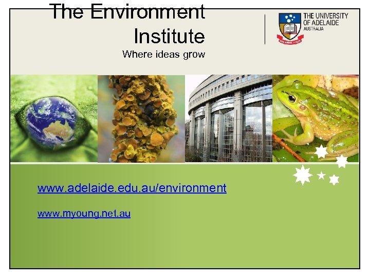 The Environment Institute Where ideas grow www. adelaide. edu. au/environment www. myoung. net. au