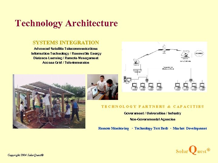 Technology Architecture SYSTEMS INTEGRATION Advanced Satellite Telecommunications Information Technology / Renewable Energy Distance Learning