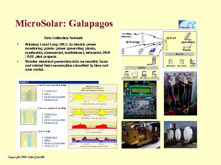 Micro. Solar: Galapagos Data Collection Network • • Wireless Local Loop (WLL) to electric