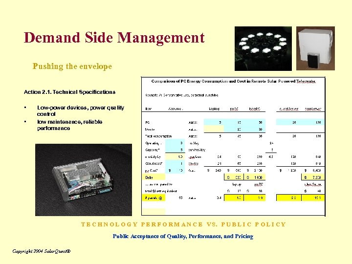 Demand Side Management Pushing the envelope Action 2. 1. Technical Specifications • • Low-power