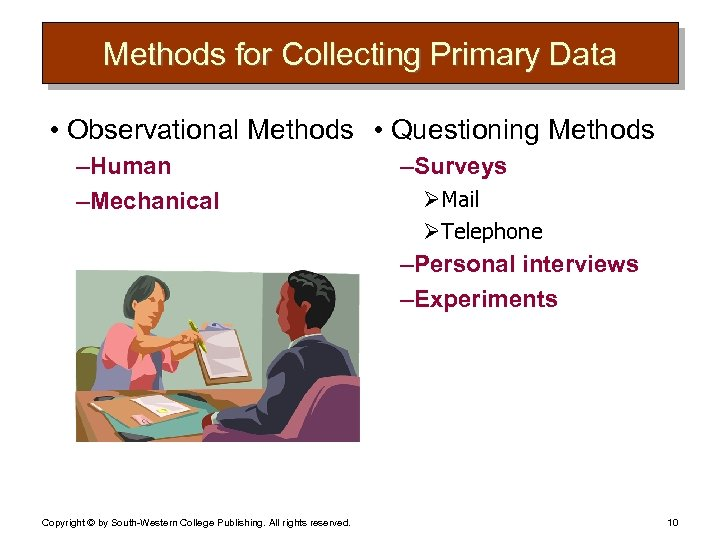 Methods for Collecting Primary Data • Observational Methods • Questioning Methods – Human –