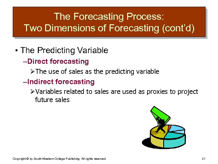 The Forecasting Process: Two Dimensions of Forecasting (cont'd) • The Predicting Variable – Direct