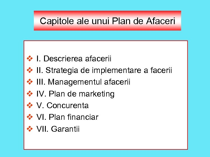 Capitole ale unui Plan de Afaceri v v v v I. Descrierea afacerii II.