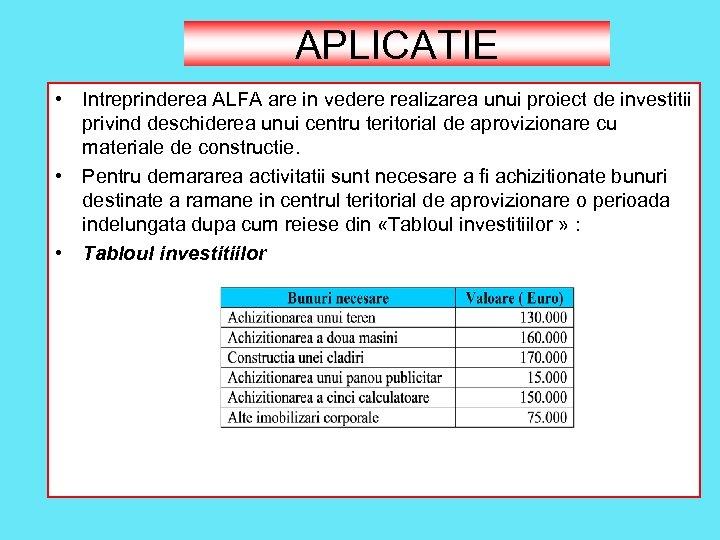 APLICATIE • Intreprinderea ALFA are in vedere realizarea unui proiect de investitii privind deschiderea