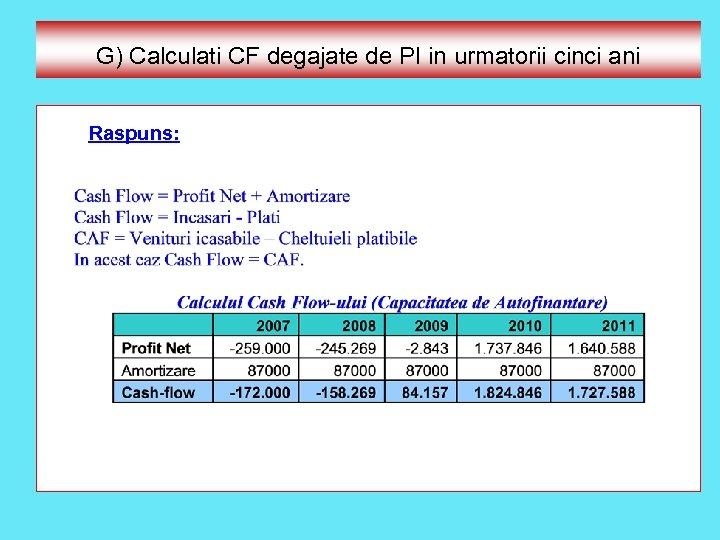 G) Calculati CF degajate de PI in urmatorii cinci ani Raspuns: