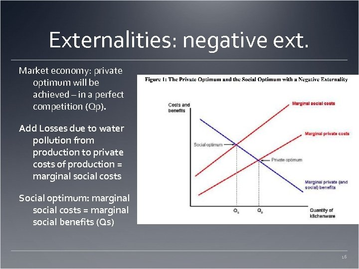Externalities: negative ext. Market economy: private optimum will be achieved – in a perfect