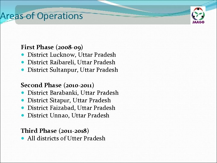 Areas of Operations First Phase (2008 -09) District Lucknow, Uttar Pradesh District Raibareli, Uttar