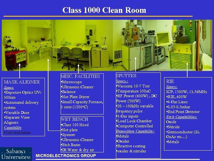 Class 1000 Clean Room MISC. FACILITIES MASK ALIGNER Specs • Exposure Optics UV: 300