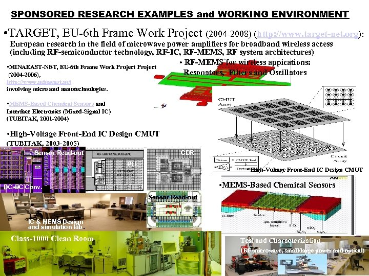 SPONSORED RESEARCH EXAMPLES and WORKING ENVIRONMENT • TARGET, EU-6 th Frame Work Project (2004