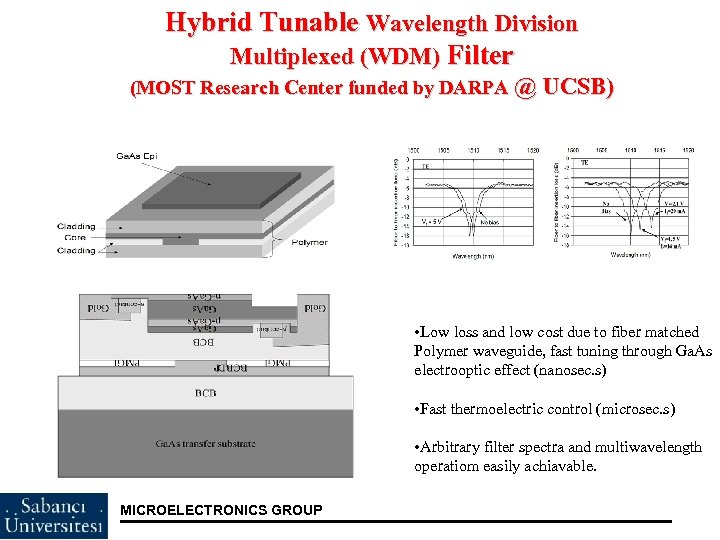 Hybrid Tunable Wavelength Division Multiplexed (WDM) Filter (MOST Research Center funded by DARPA @