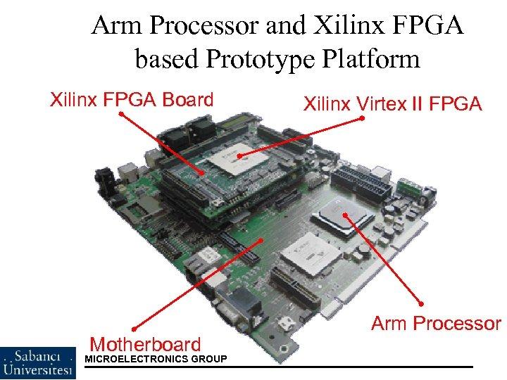 Arm Processor and Xilinx FPGA based Prototype Platform Xilinx FPGA Board Motherboard MICROELECTRONICS GROUP