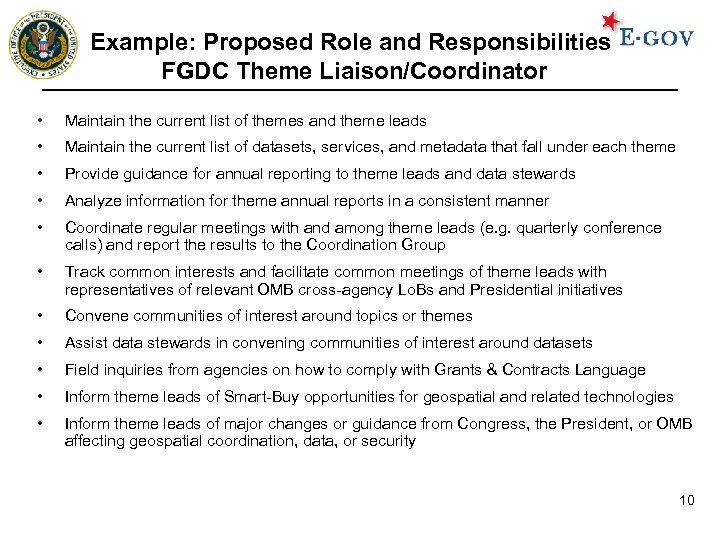 Example: Proposed Role and Responsibilities FGDC Theme Liaison/Coordinator • Maintain the current list of