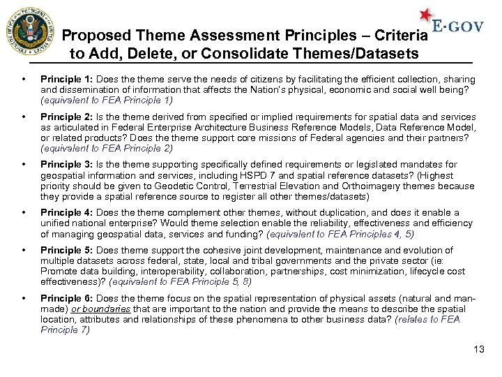 Proposed Theme Assessment Principles – Criteria to Add, Delete, or Consolidate Themes/Datasets • Principle