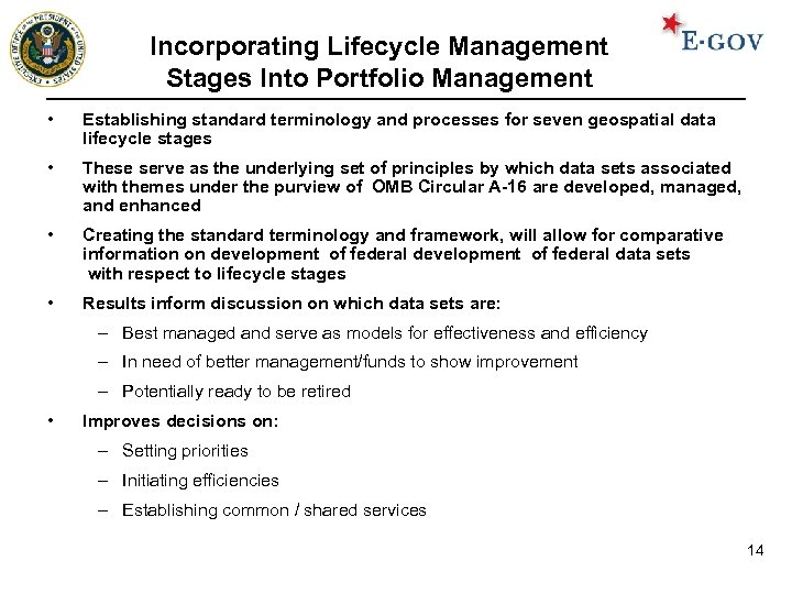 Incorporating Lifecycle Management Stages Into Portfolio Management • Establishing standard terminology and processes for