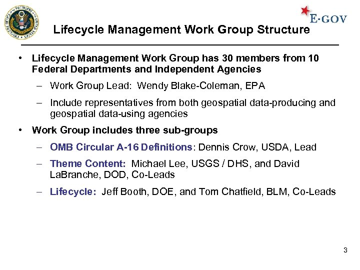 Lifecycle Management Work Group Structure • Lifecycle Management Work Group has 30 members from