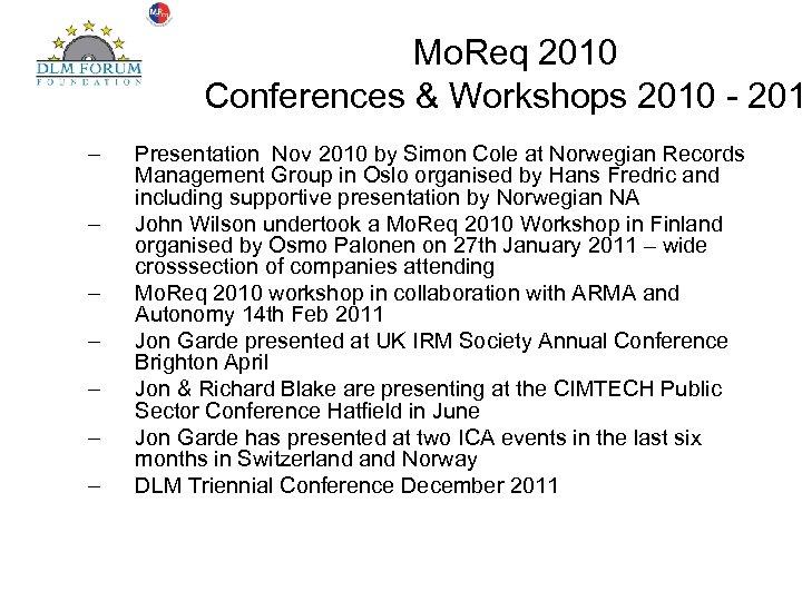 Mo. Req 2010 Conferences & Workshops 2010 - 201 – – – – Presentation