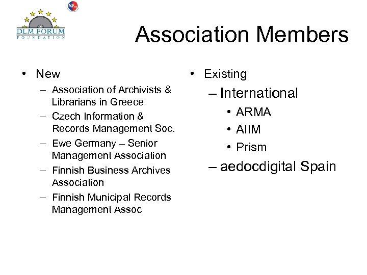 Association Members • New – Association of Archivists & Librarians in Greece – Czech