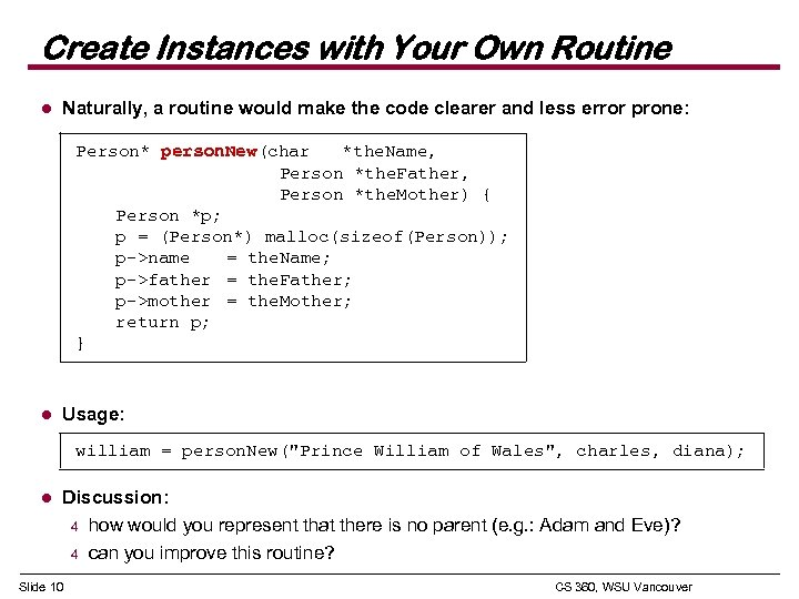 Create Instances with Your Own Routine l Naturally, a routine would make the code