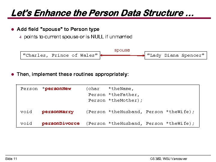 Let's Enhance the Person Data Structure … l Add field