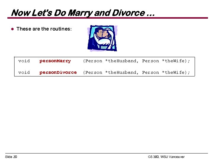 Now Let's Do Marry and Divorce … l These are the routines: void (Person