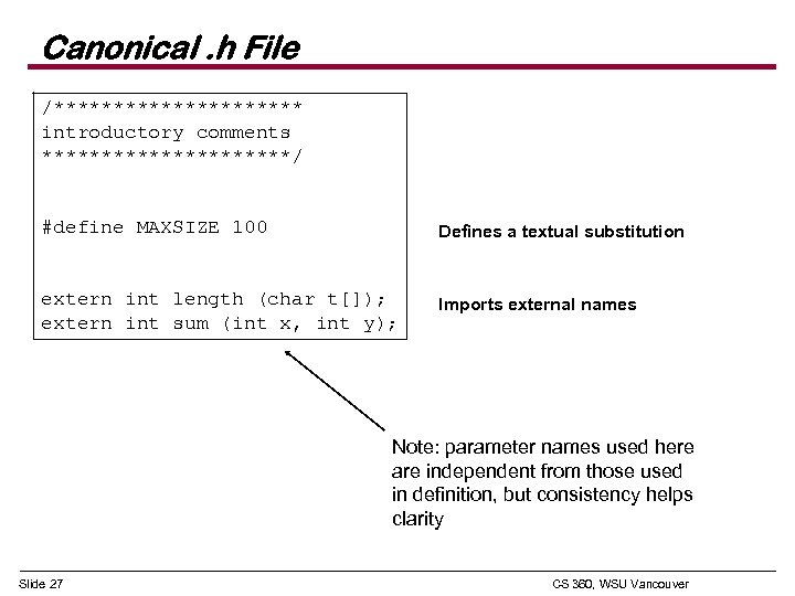 Canonical. h File /*********** introductory comments ***********/ #define MAXSIZE 100 Defines a textual substitution