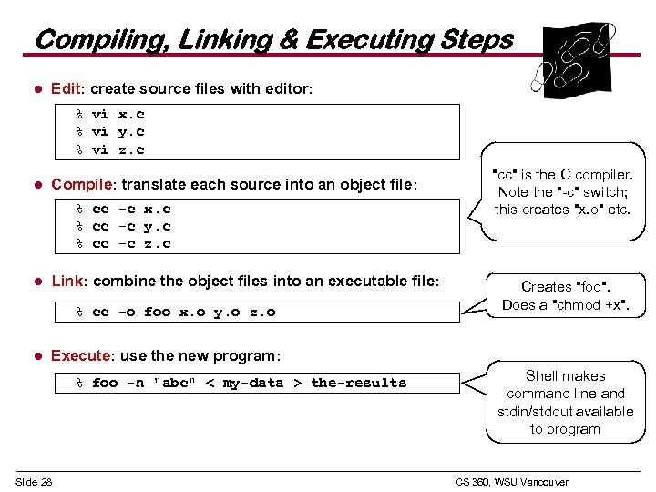 Compiling, Linking & Executing Steps l Edit: create source files with editor: % vi
