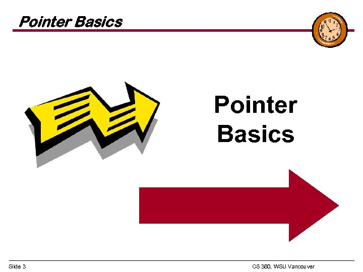Pointer Basics Slide 3 CS 360, WSU Vancouver