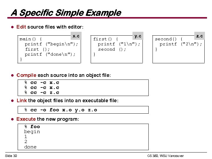 A Specific Simple Example l Edit source files with editor: x. c main() {
