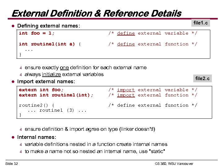 External Definition & Reference Details l file 1. c Defining external names: int foo
