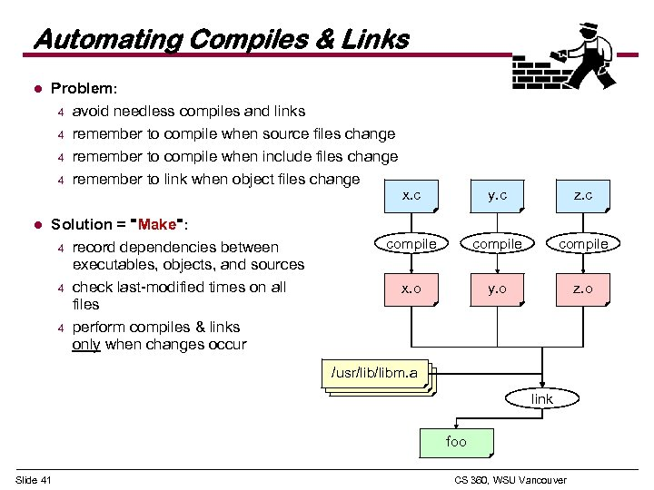 Automating Compiles & Links l l Problem: 4 avoid needless compiles and links 4
