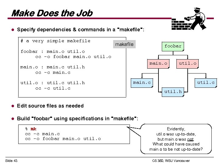 Make Does the Job l Specify dependencies & commands in a