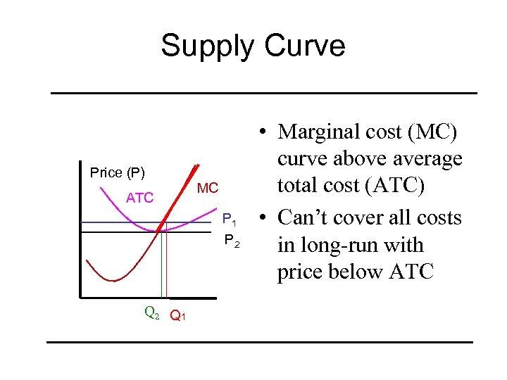 Supply Curve Price (P) ATC MC P 1 P 2 Q 1 • Marginal