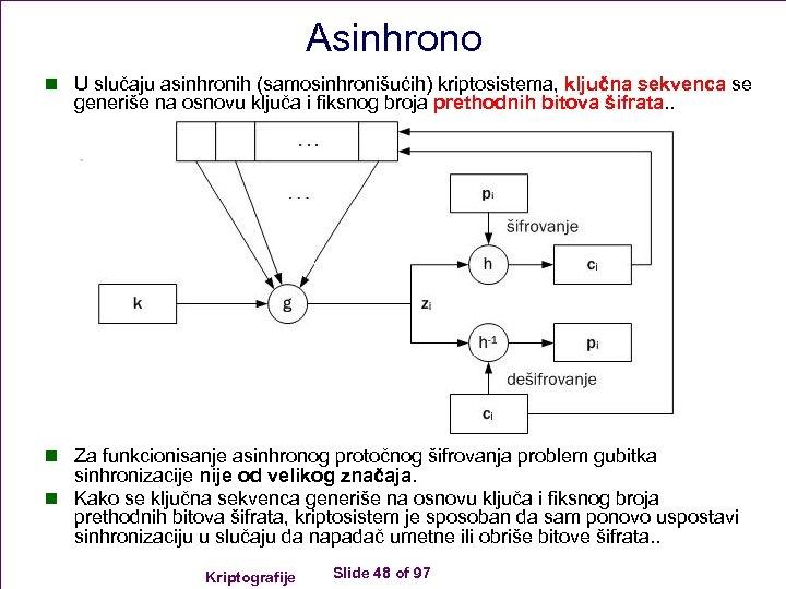 Asinhrono n U slučaju asinhronih (samosinhronišućih) kriptosistema, ključna sekvenca se generiše na osnovu ključa