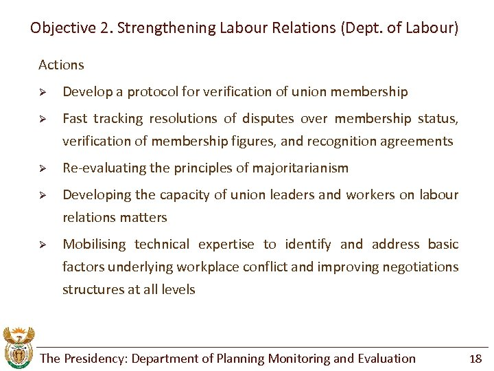Objective 2. Strengthening Labour Relations (Dept. of Labour) Actions Ø Develop a protocol for