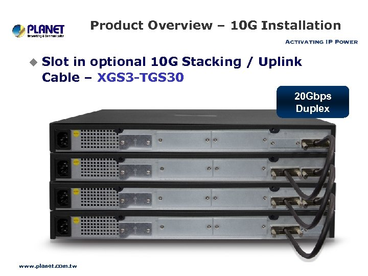 Product Overview – 10 G Installation u Slot in optional 10 G Stacking /