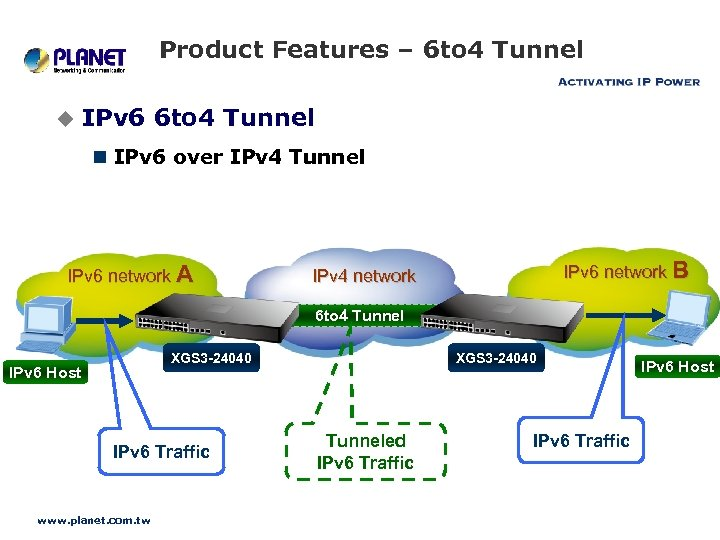 Product Features – 6 to 4 Tunnel u IPv 6 6 to 4 Tunnel