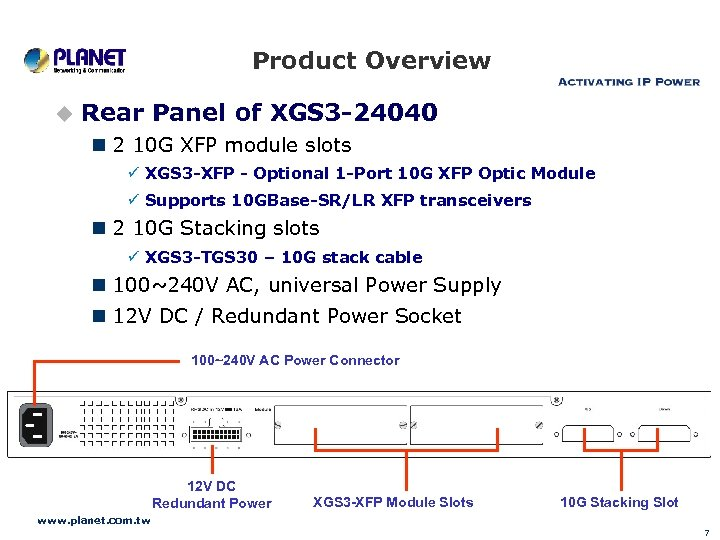 Product Overview u Rear Panel of XGS 3 -24040 n 2 10 G XFP